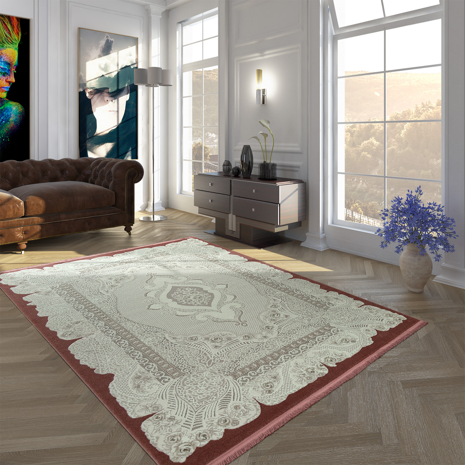 Polyacrylic Rug Short Pile High-Quality Vintage Look Orient Look Fringes Green White