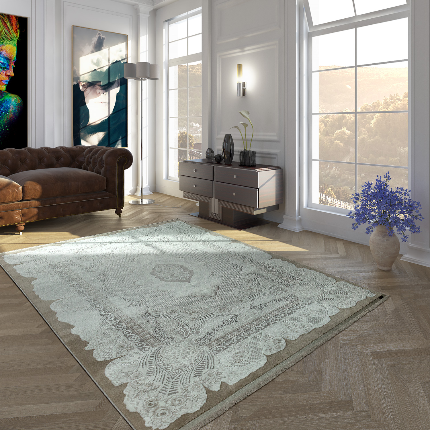 Acrylic Rug Short Pile High Quality Vintage Look Orient Look Fringes