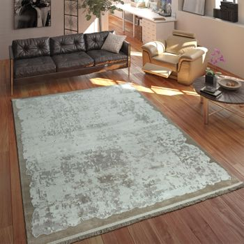 Polyacrylic Rug Short Pile High-Quality Used Look Vintage Look Fringes Beige Cream – Bild 1