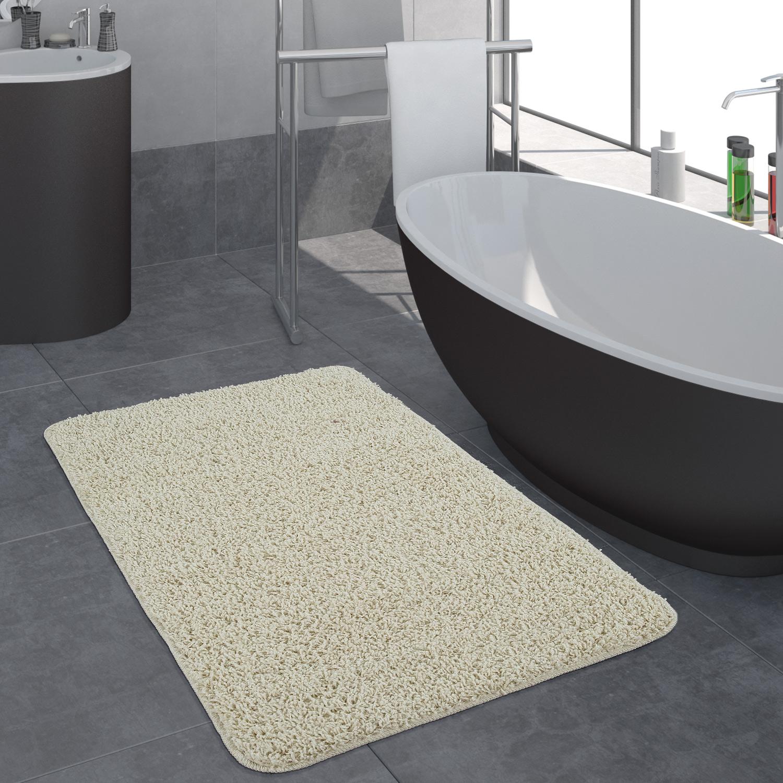 Badezimmer Teppich Einfarbig Hochflor Creme Alle Teppiche