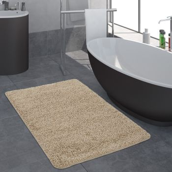 Bathroom Rug One Colour Deep Pile Beige