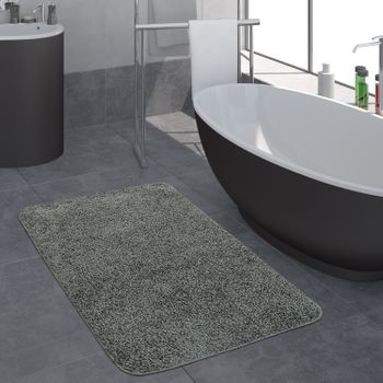 Bathroom Rug One Colour Deep Pile Grey
