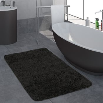 Bathroom Rug One Colour Deep Pile Black
