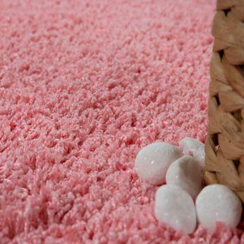 Moderner Badezimmer Teppich Einfarbig Hochflor Badteppich Rutschfest In Pink – Bild 3