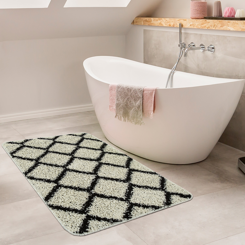 Modern Bathmat With Diamond Design Deep Pile Bathroom Mat In Cream Black