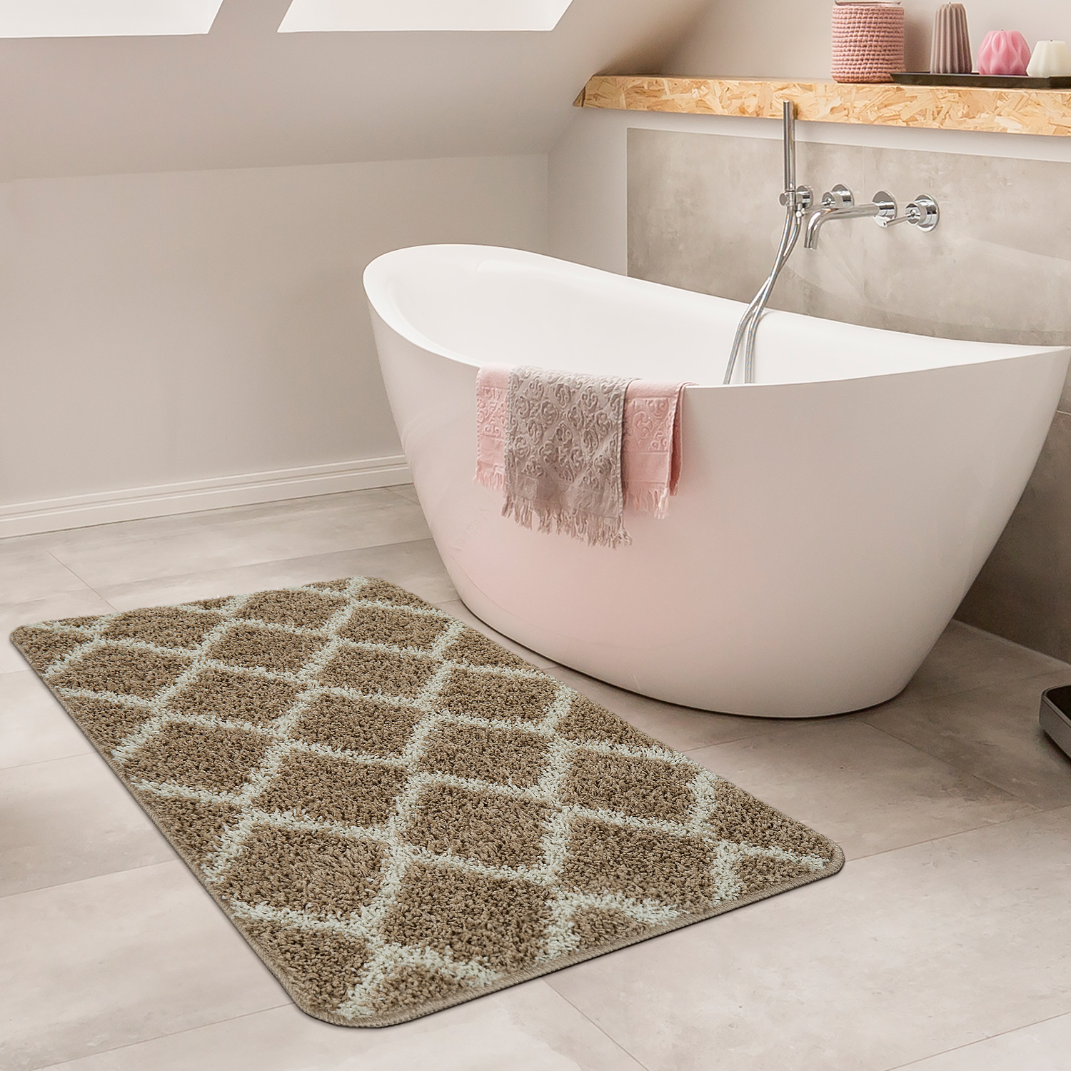 Modern Bathmat With Diamond Design Deep Pile Bathroom Mat In Beige White