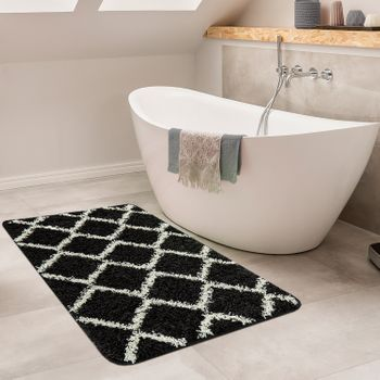 Bathroom Rug Diamond Design Black
