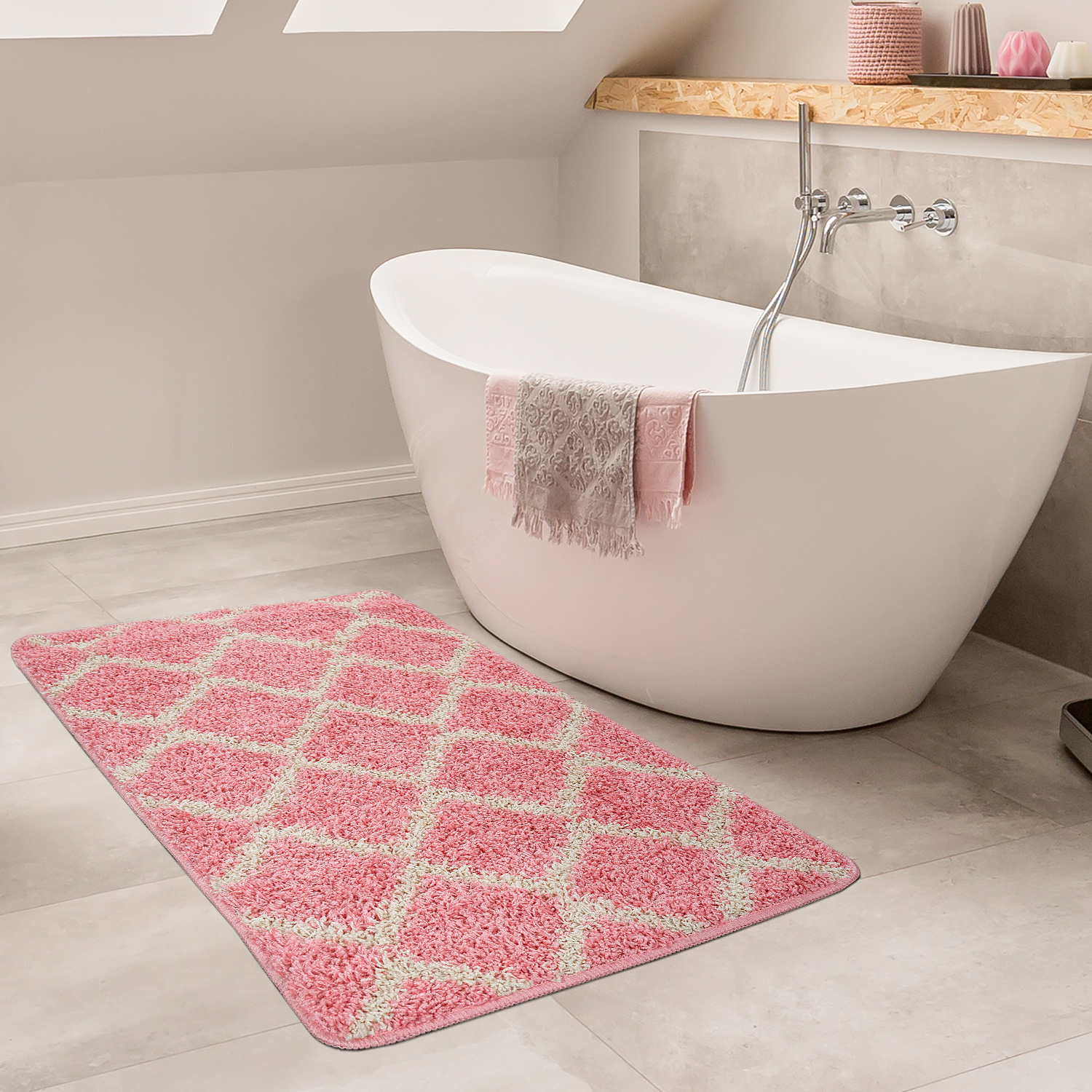 Modern Bathmat With Diamond Design Deep Pile Bathroom Mat In Cream Black