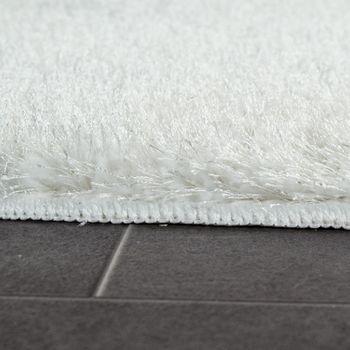 Moderner Hochflor Badezimmer Teppich Einfarbig Badematte Rutschfest In Weiß – Bild 2
