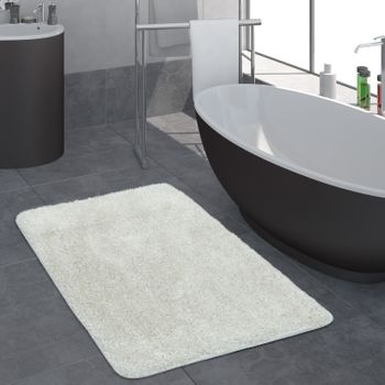 Deep Pile Bathroom Rug One Colour White