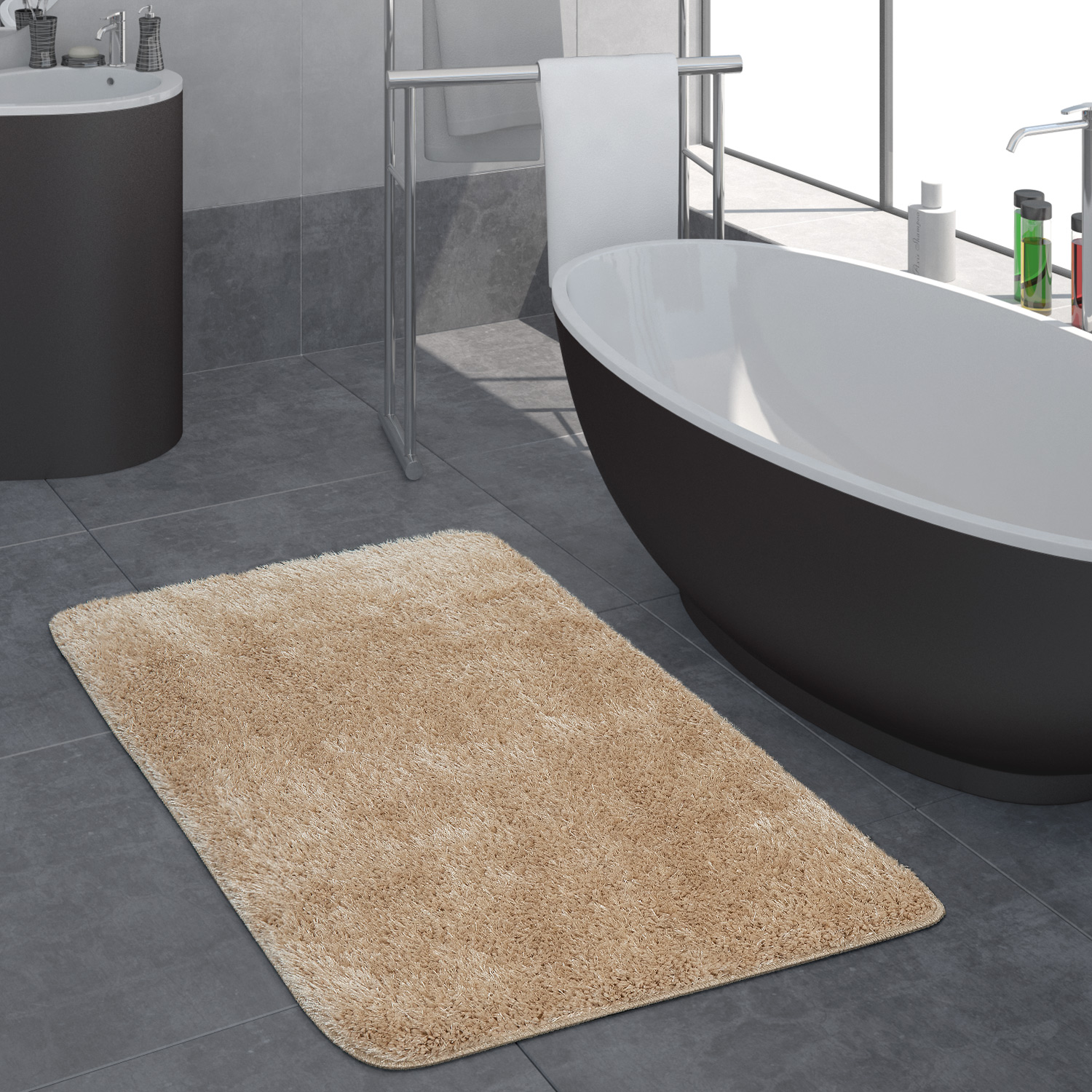Modern Deep Pile Bathroom Rug One Colour Bathmat Non-Slip In Beige