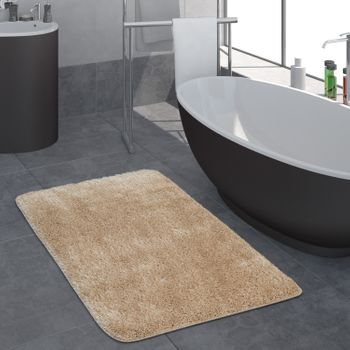 Modern Deep Pile Bathroom Rug One Colour Bathmat Non-Slip In Beige – Bild 1