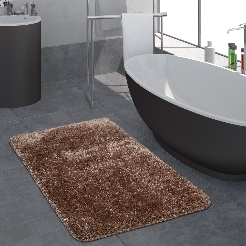 Moderno Pelo lungo Bagno tappeto Monocolore Tappetino da bagno Antiscivolo Marrone