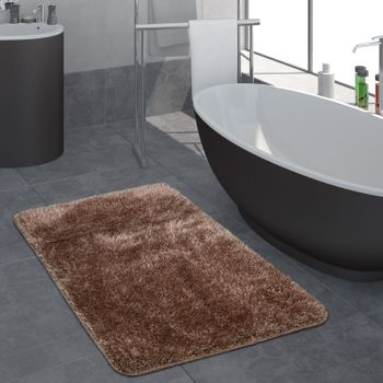 Deep Pile Bathroom Rug One Colour Brown