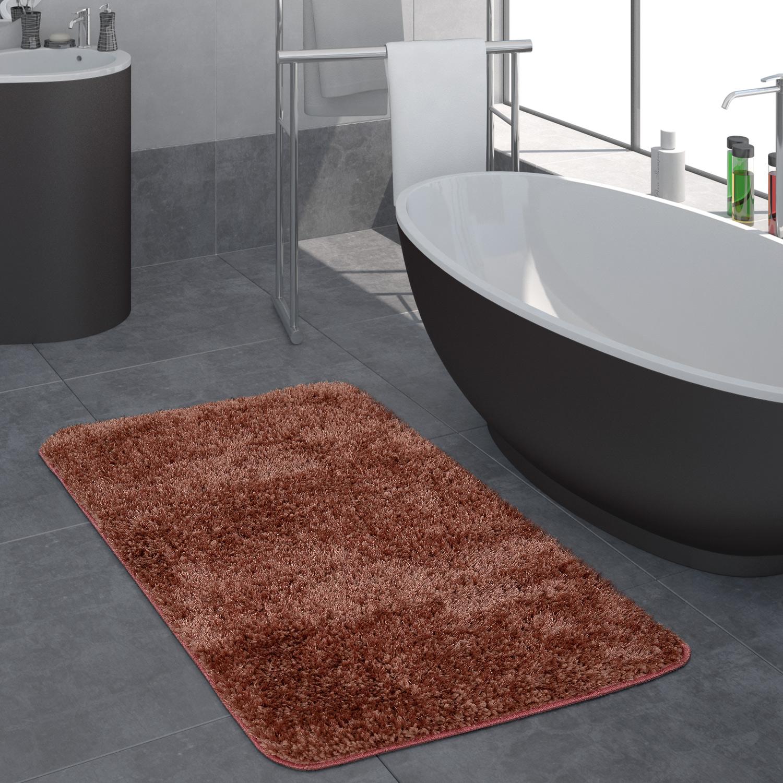 tapis salle de bain moderne poils longs uni tapis de bain antid rapant rose linge de maison. Black Bedroom Furniture Sets. Home Design Ideas