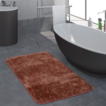 Modern Deep Pile Bathroom Rug One Colour Bathmat Non-Slip In Pink – Bild 1