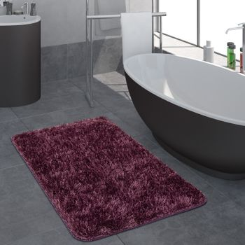 Modern Deep Pile Bathroom Rug One Colour Bathmat Non-Slip In Purple – Bild 1