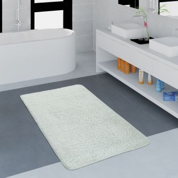 Modern Bathroom Carpet One Colour Microfibre Cuddly Cosy In White – Bild 1