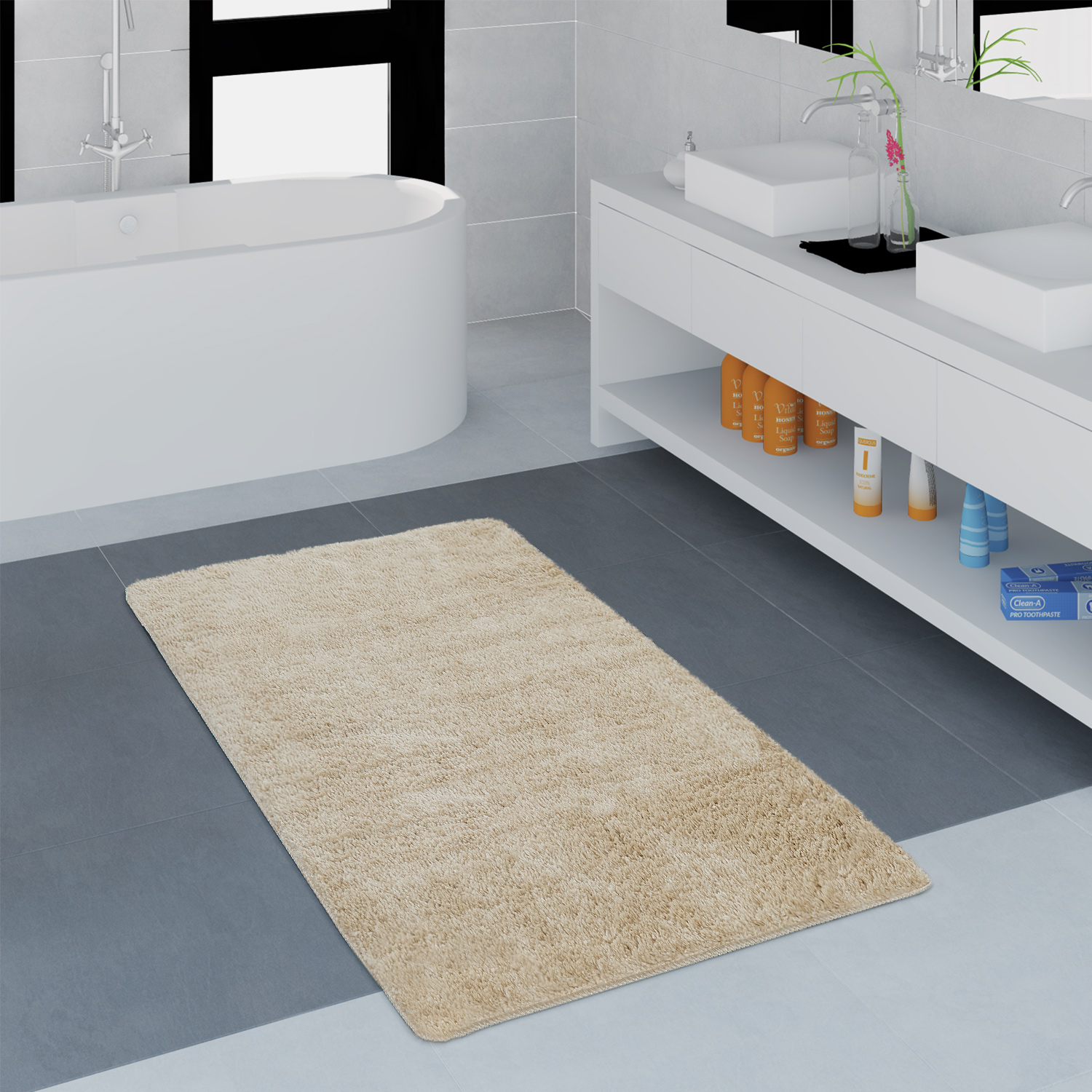 Modern Bathroom Carpet One Colour Microfibre Cuddly Cosy In Beige
