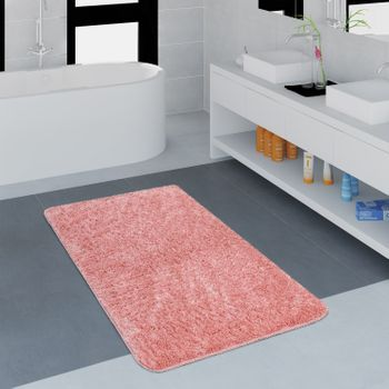 Modern Bathroom Carpet One Colour Microfibre Cuddly Cosy In Pink – Bild 1