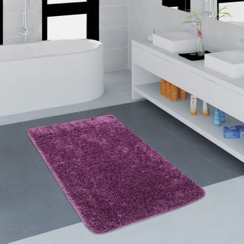 Microfibre Bathroom Rug One Colour Purple