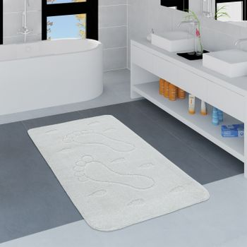 Modern Bathroom Rug Non-Slip Bathmat Footprint One Colour In White – Bild 1