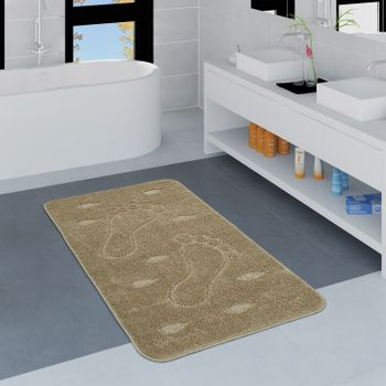 Modern Bathroom Rug Non-Slip Bathmat Footprint One Colour In Beige – Bild 1