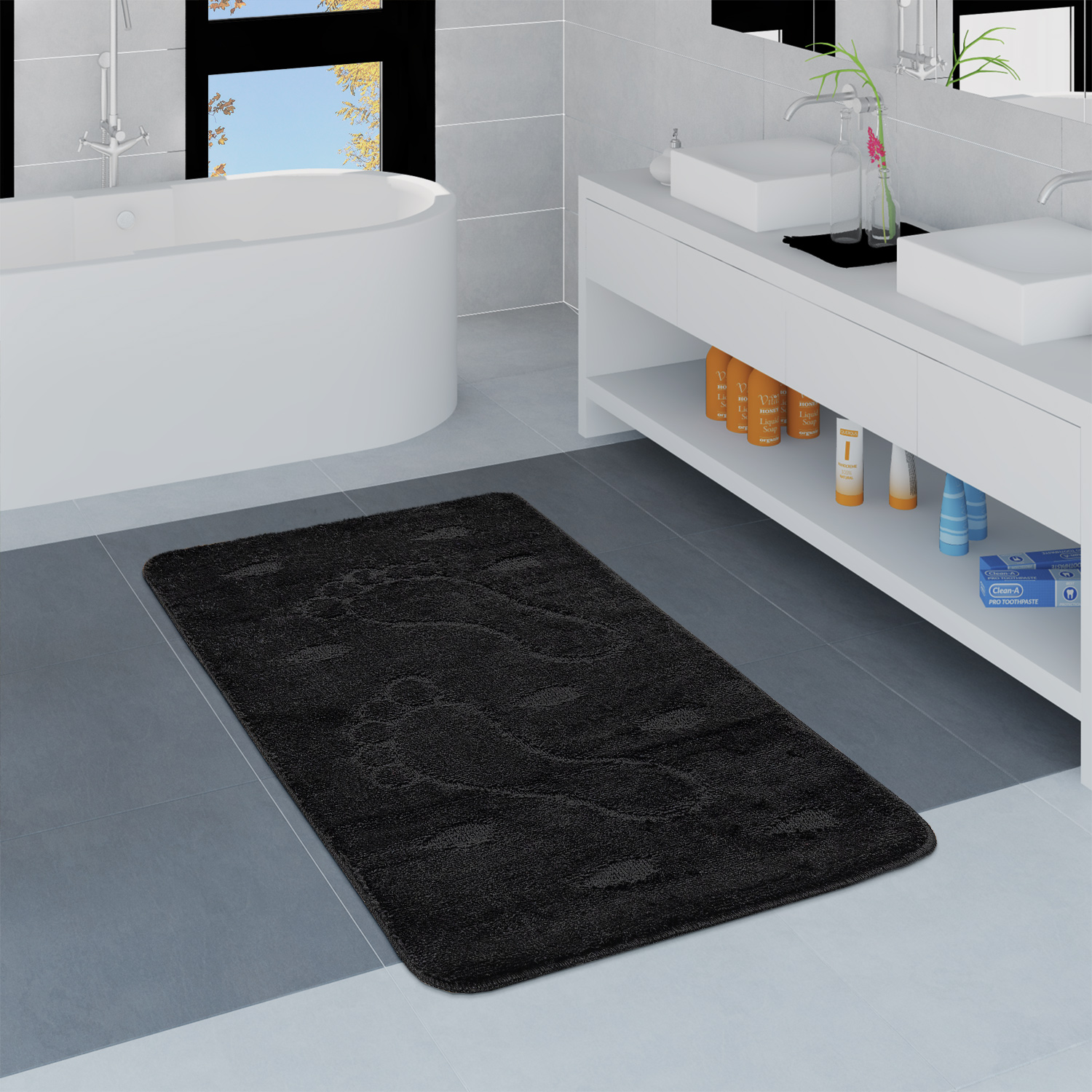 Modern Bathroom Rug Non-Slip Bathmat Footprint One Colour In Black