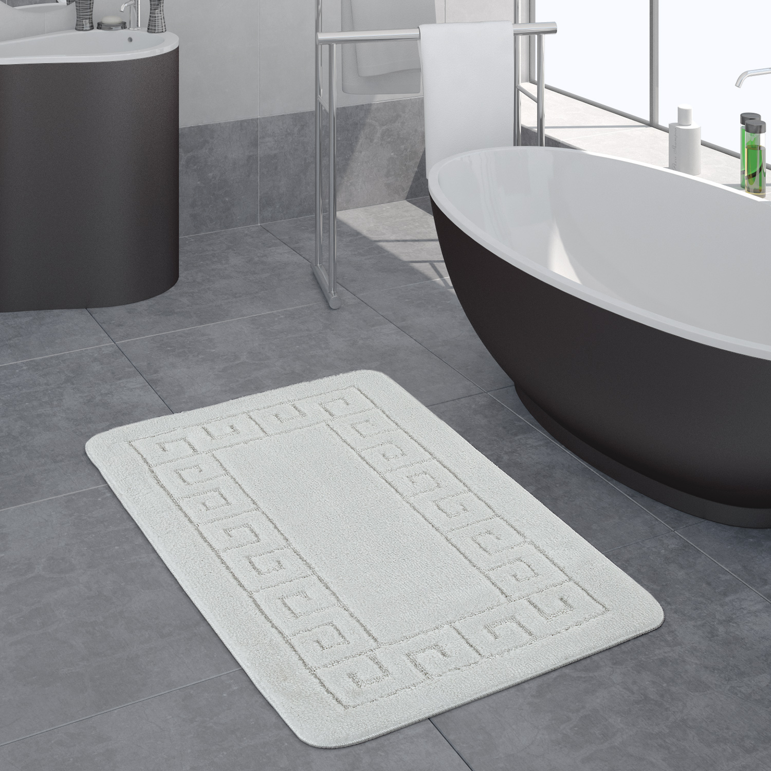 Modern Bathroom Rug Border Bathmat Non-Slip Bathroom Mat In White