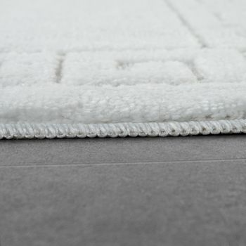 Modern Bathroom Rug Border Bathmat Non-Slip Bathroom Mat In White – Bild 2