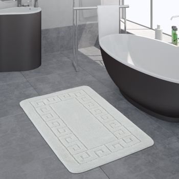 Modern Bathroom Rug Border Bathmat Non-Slip Bathroom Mat In White – Bild 1