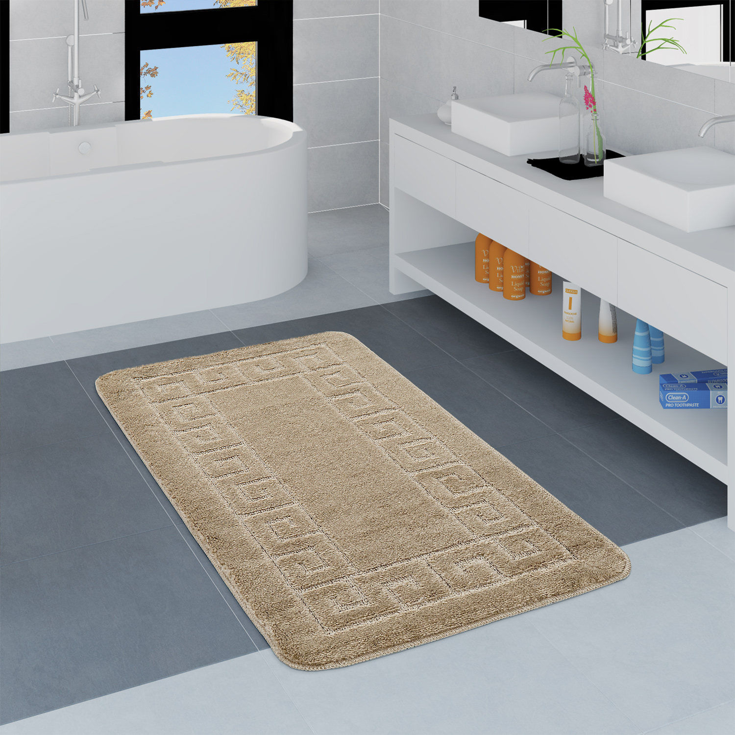 Modern Bathroom Rug Border Bathmat Non-Slip Bathroom Mat In Beige