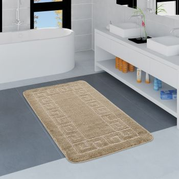 Modern Bathroom Rug Border Bathmat Non-Slip Bathroom Mat In Beige – Bild 1