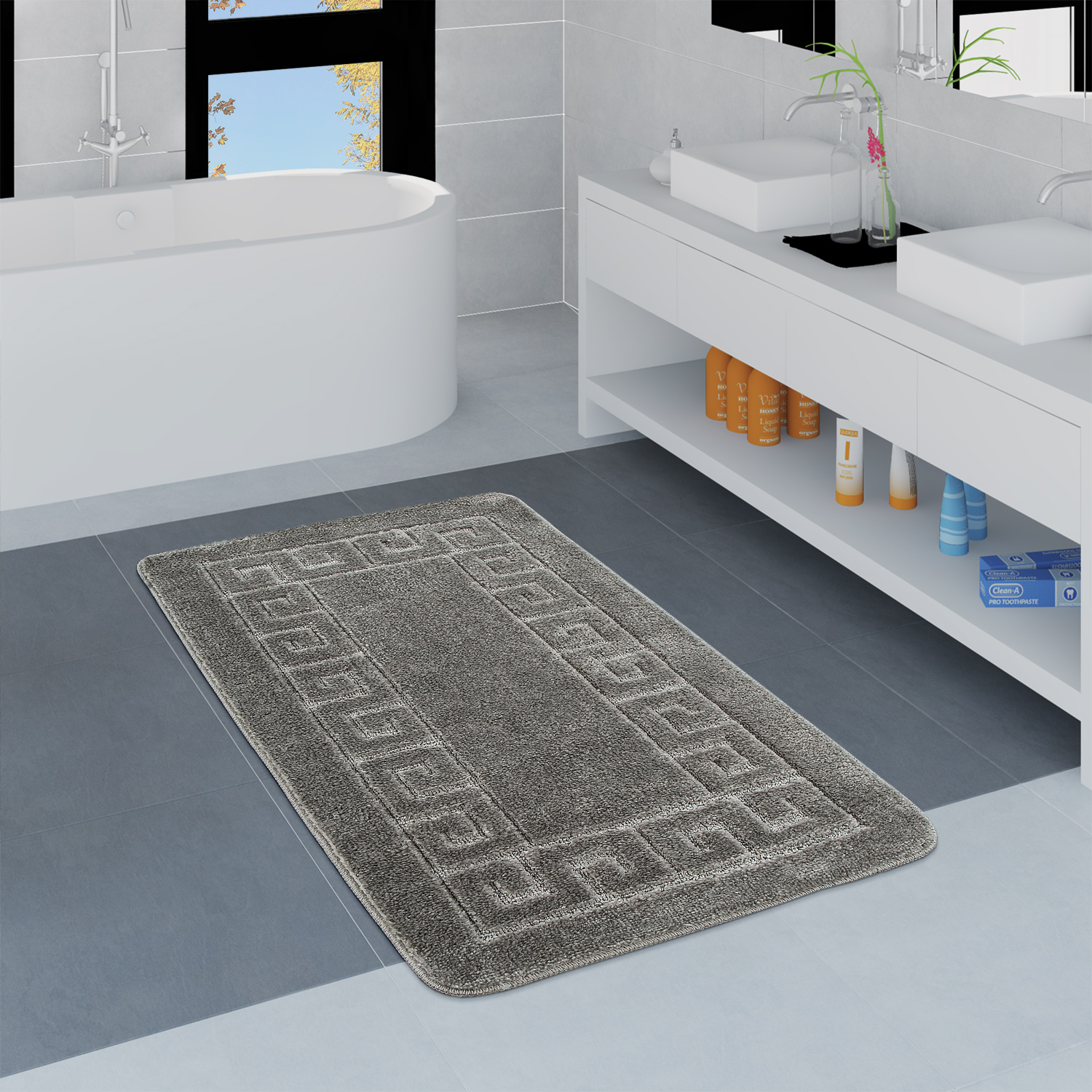 Modern Bathroom Rug Border Bathmat Non-Slip Bathroom Mat In Grey
