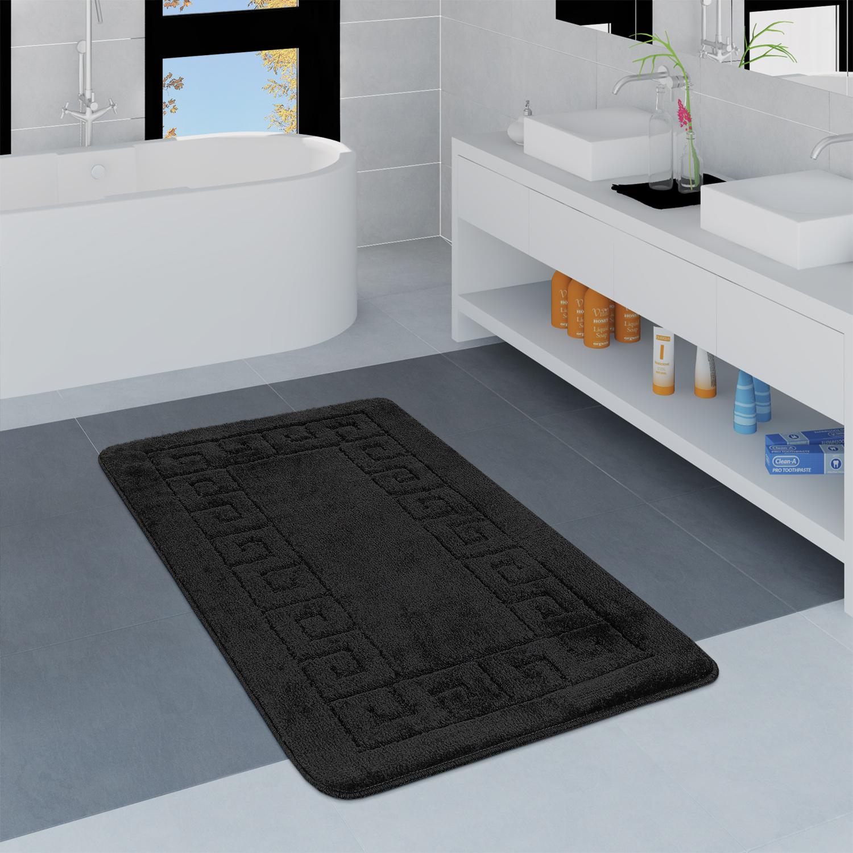 Modern Bathroom Rug Border Bathmat Non-Slip Bathroom Mat In Black