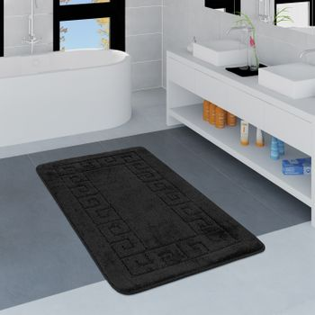 Modern Bathroom Rug Border Bathmat Non-Slip Bathroom Mat In Black – Bild 1