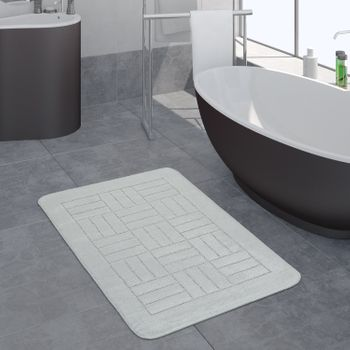 Bathroom Rug Checked Pattern White