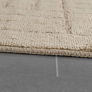 Modern Bathroom Rug Bathmat Checked Pattern One Colour In Beige – Bild 2