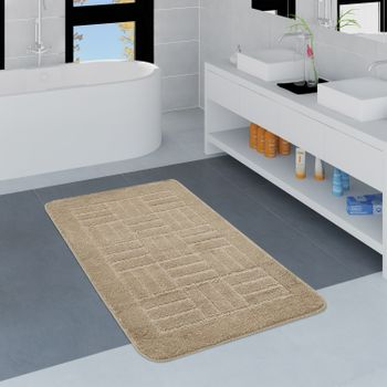 Bathroom Rug Checked Pattern Beige