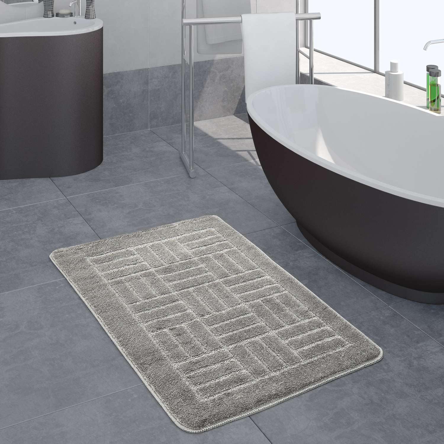 Modern Bathroom Rug Bathmat Checked Pattern One Colour In Grey