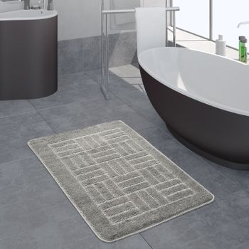 Bathroom Rug Checked Pattern Grey