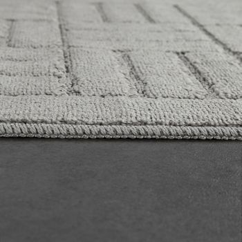 Modern Bathroom Rug Bathmat Checked Pattern One Colour In Grey – Bild 2