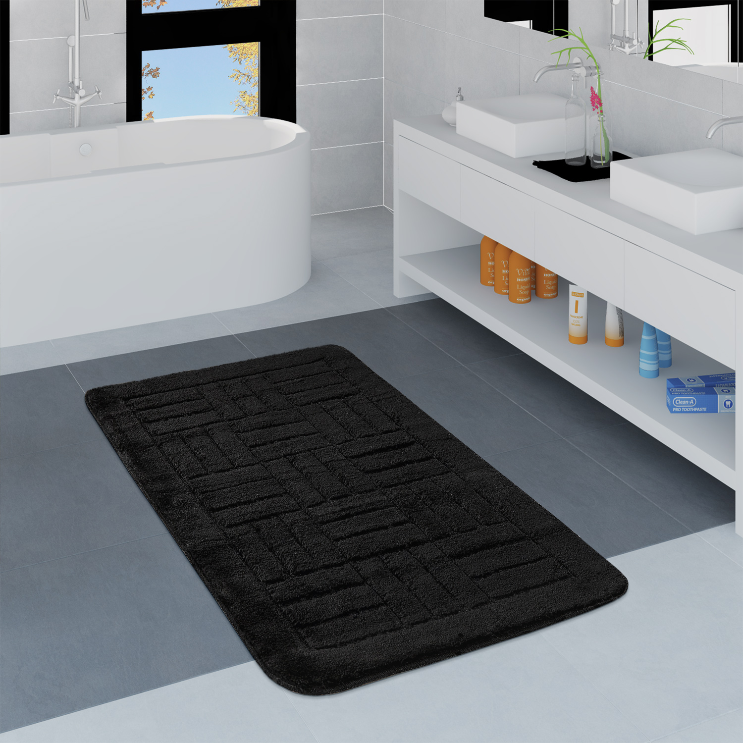 Modern Bathroom Rug Bathmat Checked Pattern One Colour In Black