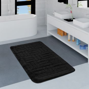 Bathroom Rug Checked Pattern Black