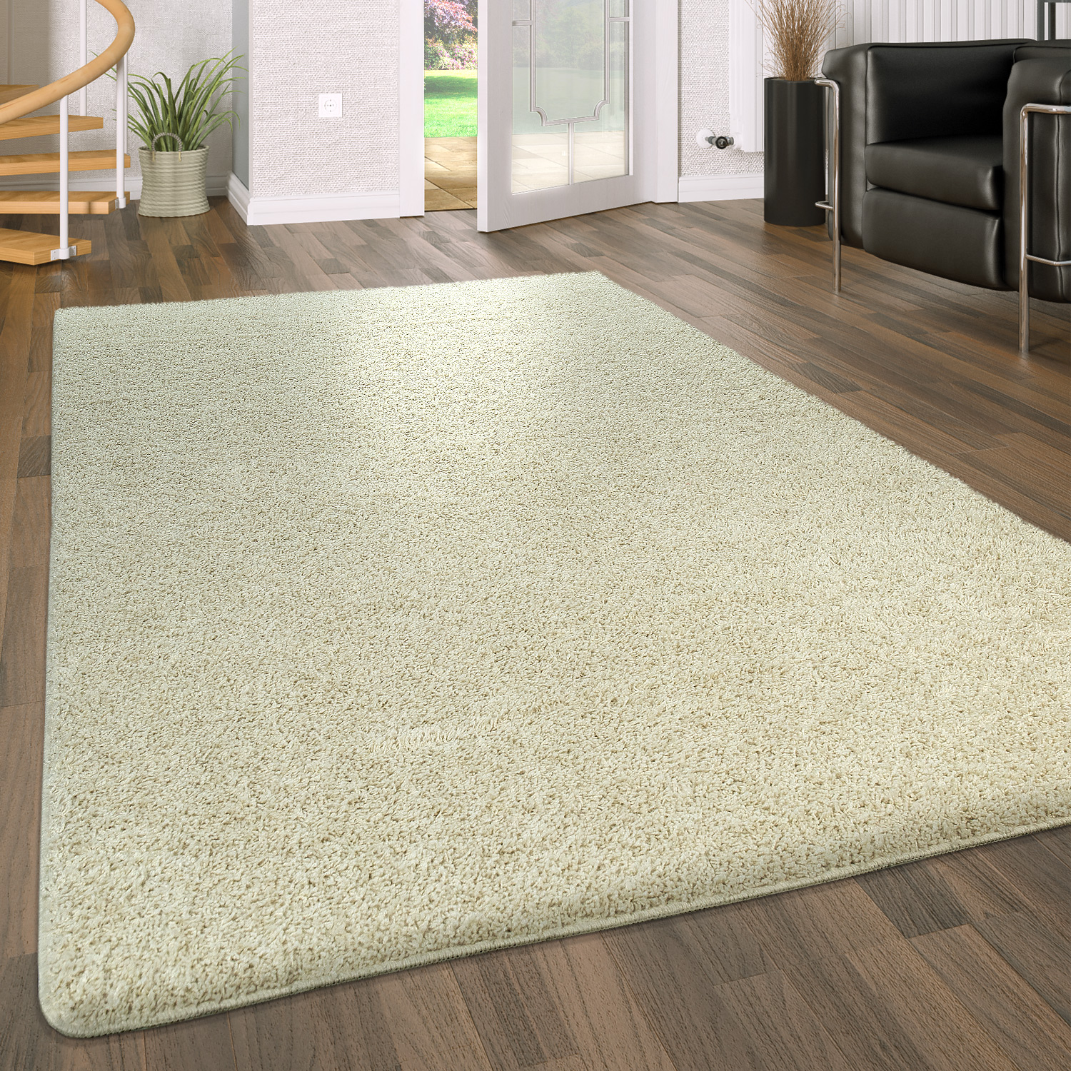 Deep Pile Living Room Rug Washable Shaggy Non-Slip One Colour In Cream