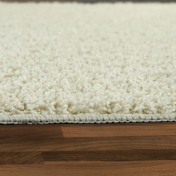 Deep Pile Living Room Rug Washable Shaggy Non-Slip One Colour In Cream – Bild 2