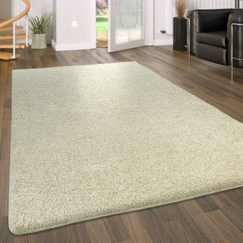 Deep Pile Living Room Rug Washable Shaggy Non-Slip One Colour In Cream – Bild 1