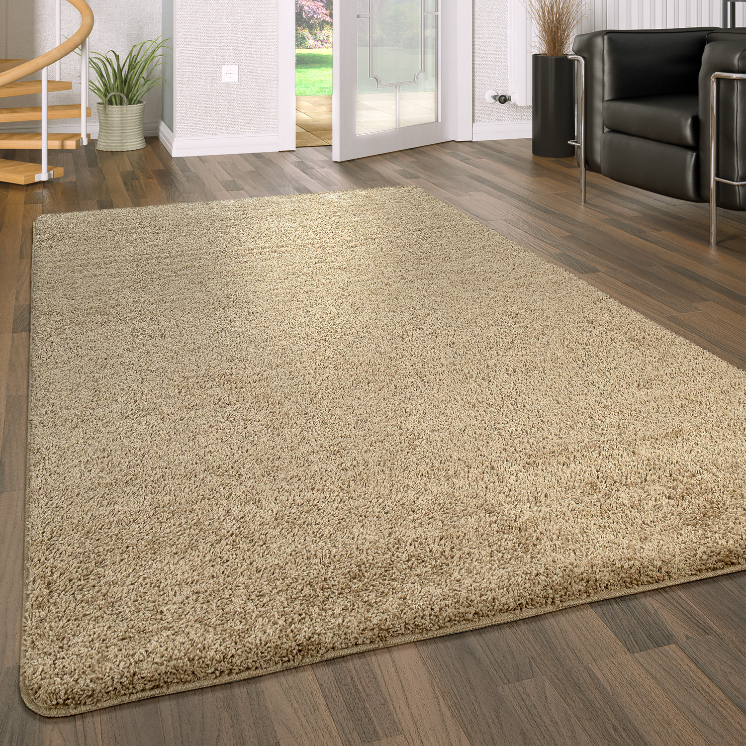 Deep Pile Living Room Rug Washable Shaggy Non-Slip One Colour In Beige