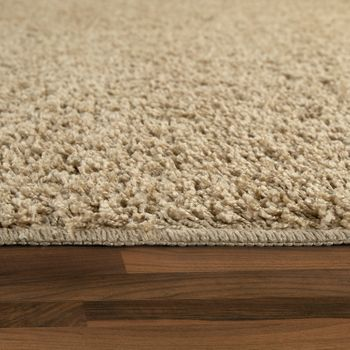 Deep Pile Living Room Rug Washable Shaggy Non-Slip One Colour In Beige – Bild 2