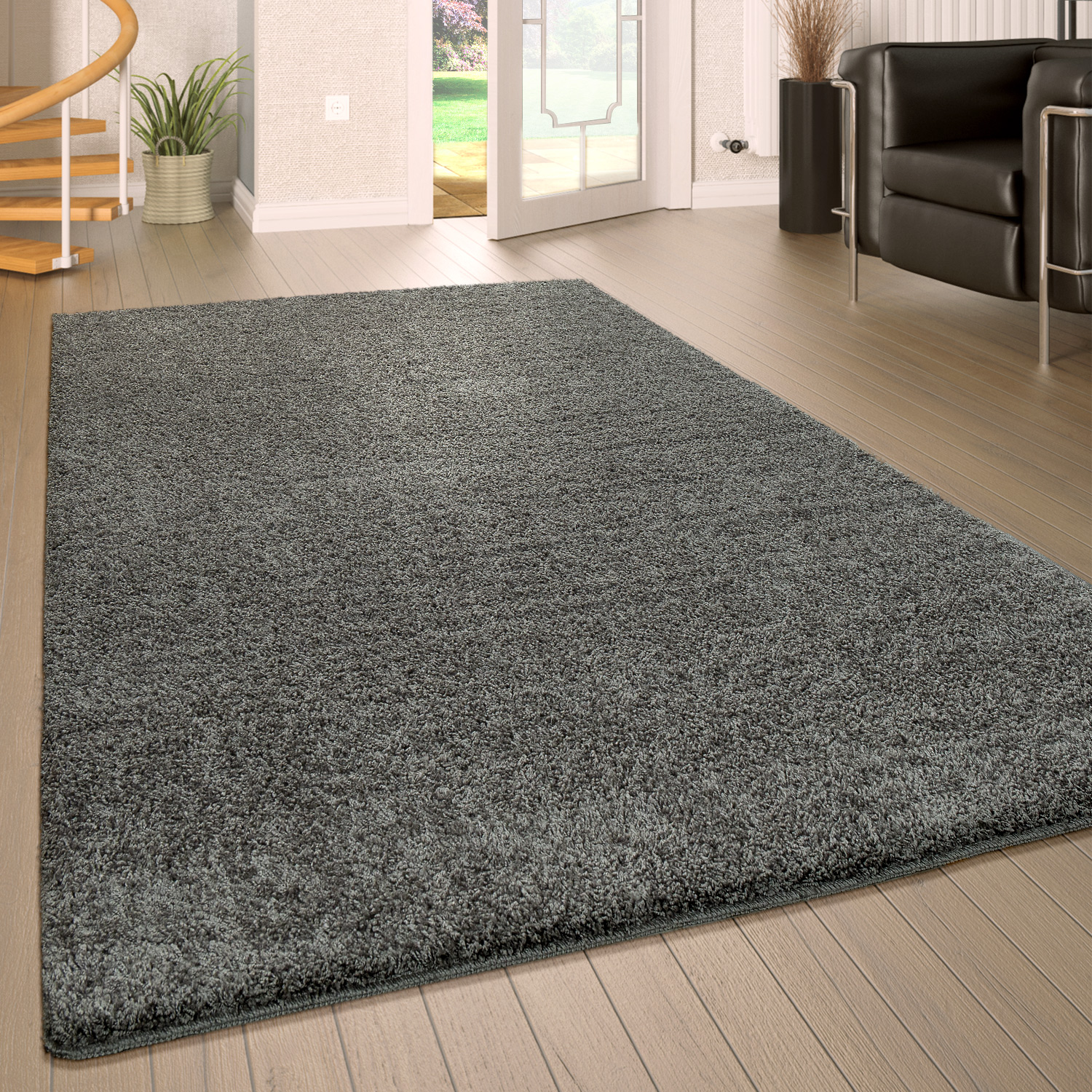 Deep Pile Living Room Rug Washable Shaggy Non-Slip One Colour In Grey
